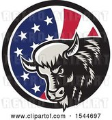 Vector Clip Art of Retro Woodcut Angry Buffalo Bison Head in an American Flag Circle by Patrimonio