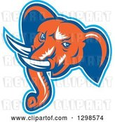 Vector Clip Art of Retro Woodcut Angry Elephant Head in Blue White and Orange by Patrimonio