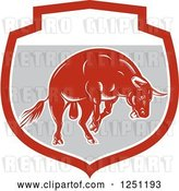 Vector Clip Art of Retro Woodcut Angry Red Bull in a Gray Shield by Patrimonio
