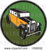 Vector Clip Art of Retro Woodcut Antique Car in a Circle by Patrimonio