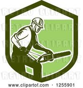 Vector Clip Art of Retro Woodcut Arborist Using a Chainsaw in a Green Shield by Patrimonio