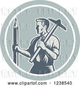 Vector Clip Art of Retro Woodcut Architect Holding a T Square and Pencil in a Circle by Patrimonio