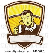 Vector Clip Art of Retro Woodcut Asian Guy Holding a Hot Cup of Coffee, Emerging from a Shield with a Banner by Patrimonio