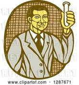 Vector Clip Art of Retro Woodcut Asian Male Scientist Holding a Test Tube by Patrimonio