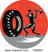Vector Clip Art of Retro Woodcut Athlete Swinging a Sledgehammer at a Giant Tire in a Red and Gray Circle by Patrimonio