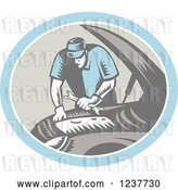 Vector Clip Art of Retro Woodcut Auto Mechanic Working on an Engine by Patrimonio