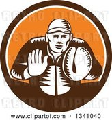 Vector Clip Art of Retro Woodcut Baseball Player Catcher in a Brown White and Orange Circle by Patrimonio