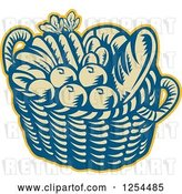Vector Clip Art of Retro Woodcut Basket of Fruit and Bread by Patrimonio
