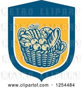 Vector Clip Art of Retro Woodcut Basket of Fruit and Bread in a Blue and Yellow Shield by Patrimonio