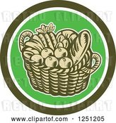 Vector Clip Art of Retro Woodcut Basket of Fruit and Bread in a Green Circle by Patrimonio