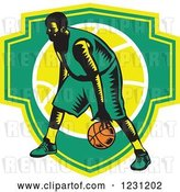 Vector Clip Art of Retro Woodcut Basketball Player Dribbling over a Green and Yellow Shield by Patrimonio