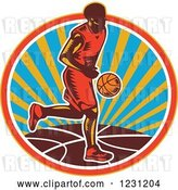 Vector Clip Art of Retro Woodcut Basketball Player Dribbling over a Sunny Circle by Patrimonio