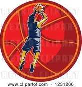 Vector Clip Art of Retro Woodcut Basketball Player Jumping over a Red Ball by Patrimonio