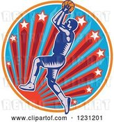 Vector Clip Art of Retro Woodcut Basketball Player Jumping over a Sun and Starburst Circle by Patrimonio