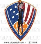 Vector Clip Art of Retro Woodcut Basketball Player Slam Dunking over an American Shield by Patrimonio