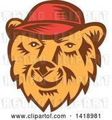 Vector Clip Art of Retro Woodcut Bear Face Wearing a Baseball Cap by Patrimonio