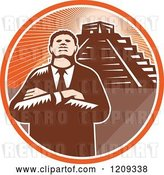 Vector Clip Art of Retro Woodcut Black Business Man with Folded Arms over a Pyramid in an Orange Sunny Circle by Patrimonio
