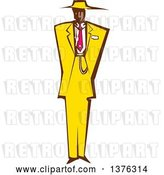 Vector Clip Art of Retro Woodcut Black Guy in a Yellow Zoot Suit by Xunantunich