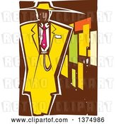 Vector Clip Art of Retro Woodcut Black Guy in a Zoot Suit by Xunantunich