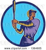Vector Clip Art of Retro Woodcut Black Male Baseball Player Athlete Batting in a Black White and Beige Circle by Patrimonio