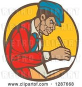 Vector Clip Art of Retro Woodcut Black Male Journalist Writing in a Brown and Yellow Circle by Patrimonio