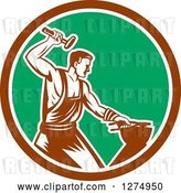 Vector Clip Art of Retro Woodcut Blacksmith Hammering in a Brown White and Green Circle by Patrimonio
