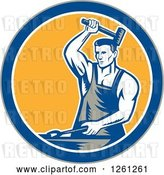 Vector Clip Art of Retro Woodcut Blacksmith Hammering in a Gray Blue White and Yellow Circle by Patrimonio