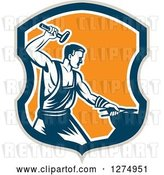 Vector Clip Art of Retro Woodcut Blacksmith Hammering in a Taupe Blue White and Orange Shield by Patrimonio