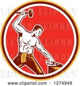 Vector Clip Art of Retro Woodcut Blacksmith Hammering in a Yellow Brown White and Red Circle by Patrimonio