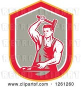 Vector Clip Art of Retro Woodcut Blacksmith Hammering in a Yellow Red White and Taupe Shield by Patrimonio