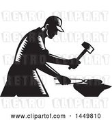 Vector Clip Art of Retro Woodcut Blacksmith Worker Forging Iron by Patrimonio