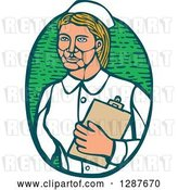Vector Clip Art of Retro Woodcut Blond White Female Nurse Holding a Cliboard in a Green Oval by Patrimonio