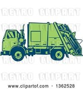 Vector Clip Art of Retro Woodcut Blue and Green Garbage Truck by Patrimonio