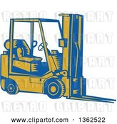Vector Clip Art of Retro Woodcut Blue and Yellow Forklift by Patrimonio