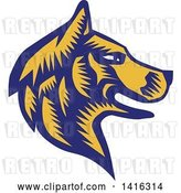 Vector Clip Art of Retro Woodcut Blue and Yellow Husky Dog Head in Profile by Patrimonio