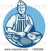 Vector Clip Art of Retro Woodcut Blue Butcher Holding a Cleaver Knife over Meats by Patrimonio