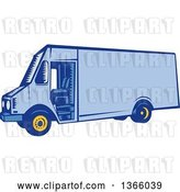 Vector Clip Art of Retro Woodcut Blue Delivery Van by Patrimonio