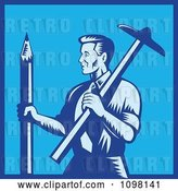 Vector Clip Art of Retro Woodcut Blue Draftsman Architect Holding a Large Pencil and T-Square by Patrimonio