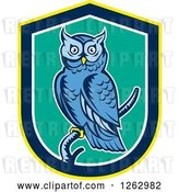 Vector Clip Art of Retro Woodcut Blue Great Horned Owl in a Yellow Blue White and Turquoise Shield by Patrimonio