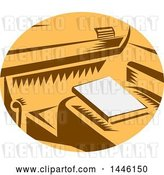 Vector Clip Art of Retro Woodcut Book on a Passenger Seat of a Car in a Brown White and Orange Oval by Patrimonio