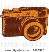 Vector Clip Art of Retro Woodcut Brown and Orange 35mm Camera by Patrimonio