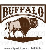 Vector Clip Art of Retro Woodcut Brown and Tan American Bison on Grass Under Buffalo Text by Patrimonio