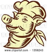 Vector Clip Art of Retro Woodcut Brown and Yellow Chef Pig Face by Patrimonio