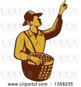 Vector Clip Art of Retro Woodcut Brown and Yellow Male Farm Fruit Picker Worker Pointing and Holding a Basket by Patrimonio
