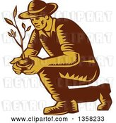 Vector Clip Art of Retro Woodcut Brown and Yellow Male Farmer Planting an Organic Tree or Plant by Patrimonio