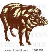 Vector Clip Art of Retro Woodcut Brown and Yellow Philippine Warty Pig by Patrimonio