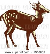 Vector Clip Art of Retro Woodcut Brown and Yellow Visayan or Philippine Spotted Deer by Patrimonio