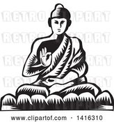 Vector Clip Art of Retro Woodcut Buddha Sitting in the Lotus Position by Patrimonio