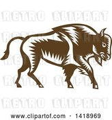 Vector Clip Art of Retro Woodcut Buffalo Bison Walking by Patrimonio
