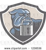 Vector Clip Art of Retro Woodcut Bulldog with a Padlock in a Security Shield by Patrimonio
